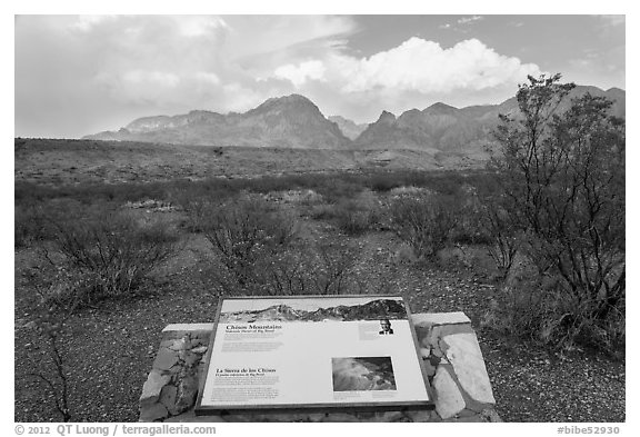 Interpretive sign, Chisos Mountains. Big Bend National Park (black and white)