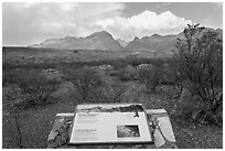 Interpretive sign, Chisos Mountains. Big Bend National Park ( black and white)