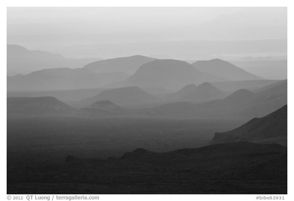 Mountain ridges at sunset. Big Bend National Park (black and white)