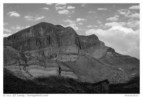 Pena Mountain at sunset. Big Bend National Park (black and white)