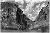 Santa Elena Canyon cut into Sierra Ponce Mountains. Big Bend National Park ( black and white)