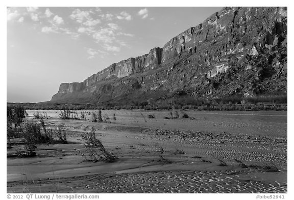 Mesa de Anguilla and Rio Grande River. Big Bend National Park (black and white)