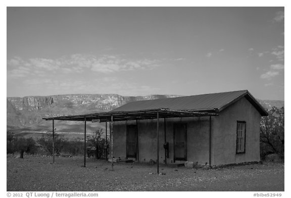 Historic custom house, Castolon. Big Bend National Park (black and white)
