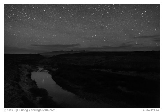 Rio Grande River at night. Big Bend National Park (black and white)