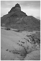 Volcanic tower near Tuff Canyon. Big Bend National Park, Texas, USA. (black and white)