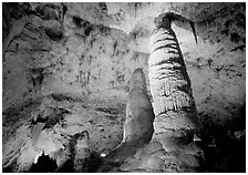 Six-story tall colum and stalagmites in Hall of Giants. Carlsbad Caverns National Park ( black and white)
