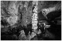 Devils Spring underground pool. Carlsbad Caverns National Park ( black and white)