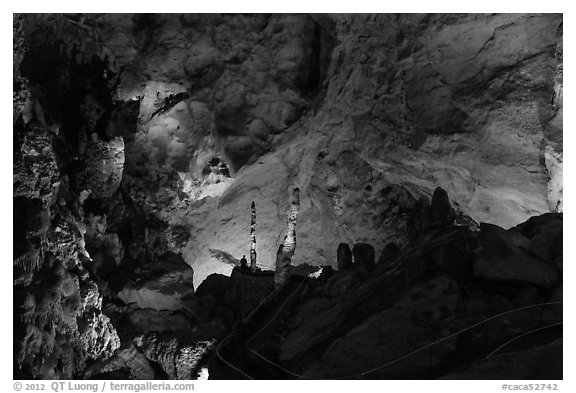 Park visitor looking,  room above Whales Mouth. Carlsbad Caverns National Park (black and white)