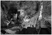 Vistor and stalacmites. Carlsbad Caverns National Park, New Mexico, USA. (black and white)