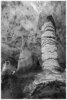 Giant Dome and Twin Domes. Carlsbad Caverns National Park ( black and white)