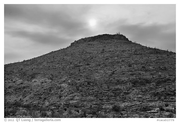 Hill with burned vegetation and sun shining through smoke. Carlsbad Caverns National Park (black and white)