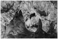 Big limestone pillars. Carlsbad Caverns National Park ( black and white)