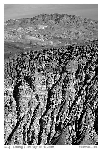 Ubehebe Crater walls and mountains. Death Valley National Park (black and white)