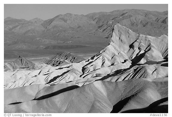 Manly beacon, Zabriskie point, sunrise. Death Valley National Park (black and white)