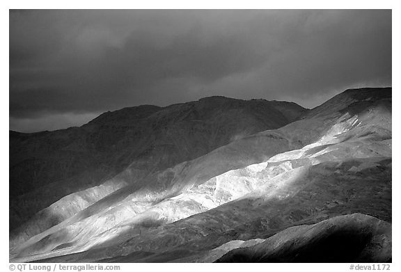 Storm light on foothills. Death Valley National Park (black and white)
