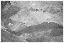 Colorful mineral deposits in Artist's palette. Death Valley National Park ( black and white)