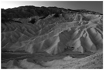 Zabriskie point at dusk. Death Valley National Park ( black and white)