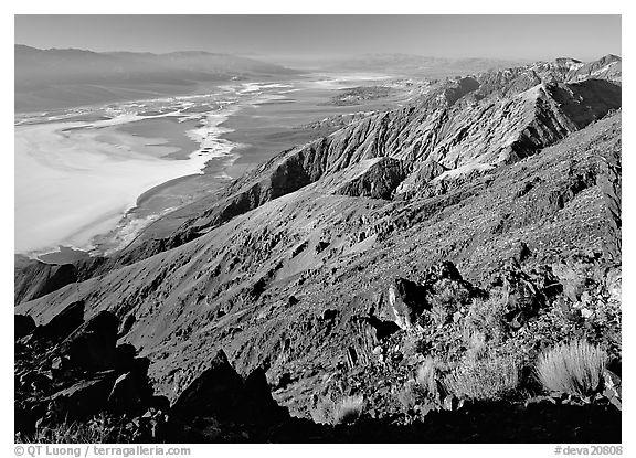 Dante's view, afternoon. Death Valley National Park (black and white)