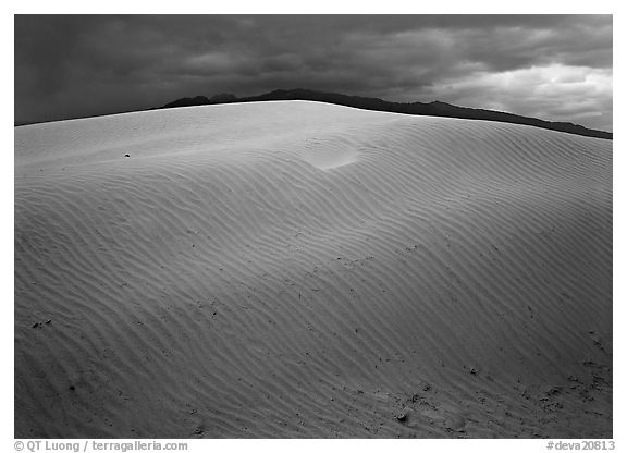 Dunes under rare stormy sky. Death Valley National Park (black and white)
