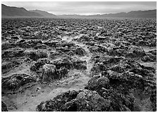 Lumpy salts of Devils Golf Course. Death Valley National Park ( black and white)
