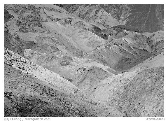 Colorful mineral deposits at Artist's Palette. Death Valley National Park (black and white)