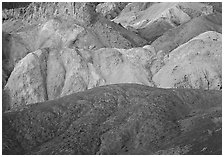 Multicolored mineral deposits, Artist Palette. Death Valley National Park ( black and white)