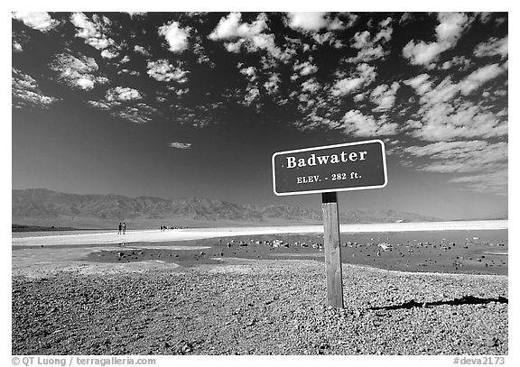 Badwater, lowest point in the US. Death Valley National Park (black and white)
