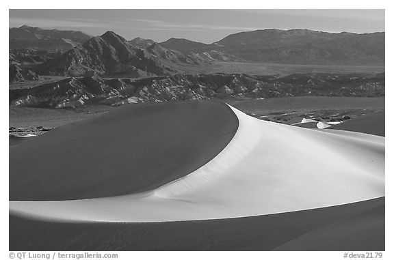 Mesquite Sand dunes and Amargosa Range, early morning. Death Valley National Park (black and white)