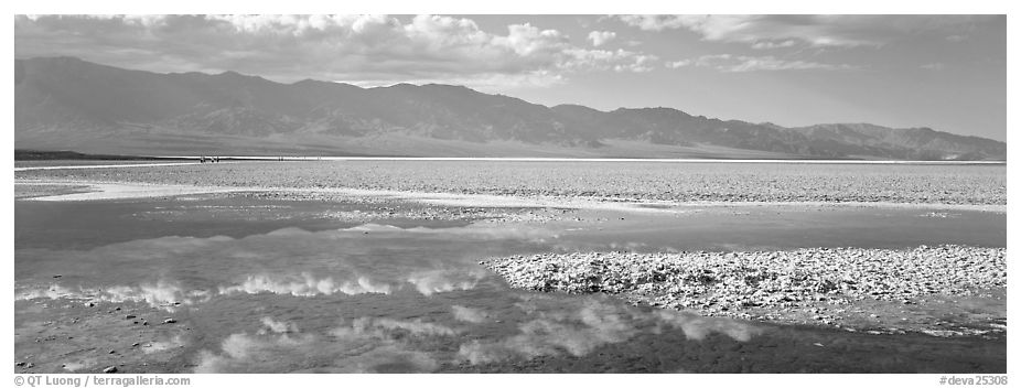 Reflections in shallow pond, Badwater. Death Valley National Park (black and white)