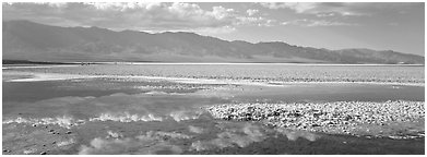 Reflections in shallow pond, Badwater. Death Valley National Park (Panoramic black and white)
