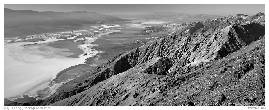 Saltpan and Death Valley from Dante's View. Death Valley National Park (black and white)