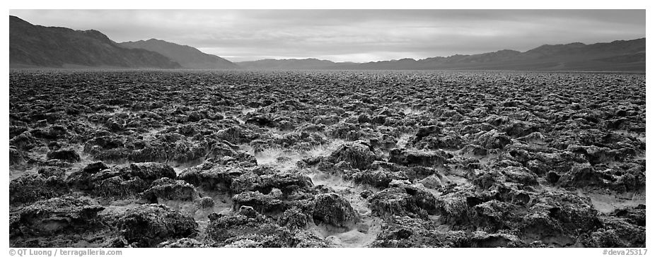Lumpy salt surface, Devil's Golf Course. Death Valley National Park (black and white)