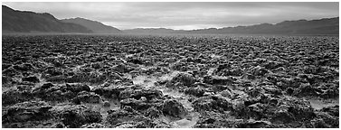 Lumpy salt surface, Devil's Golf Course. Death Valley National Park (Panoramic black and white)