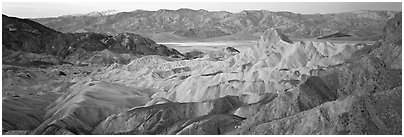 Colorful badlands from Zabriskie Point. Death Valley National Park (Panoramic black and white)