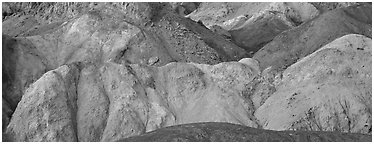 Multicolored minerals, artist's palette. Death Valley National Park (Panoramic black and white)