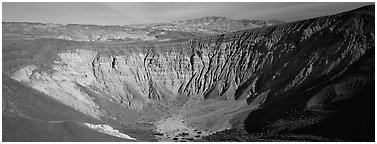 Volcanic Ubehebe crater. Death Valley National Park (Panoramic black and white)