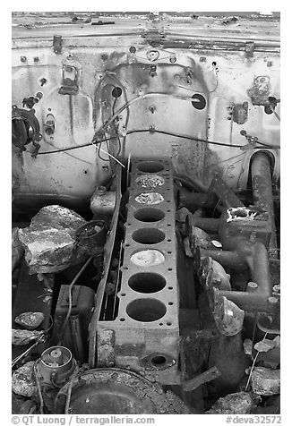 Engine of rusted car near Aguereberry camp. Death Valley National Park (black and white)