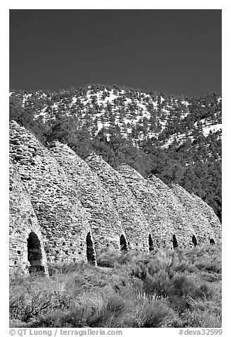 Wildrose charcoal kilns, in operation from 1877 to 1878. Death Valley National Park (black and white)