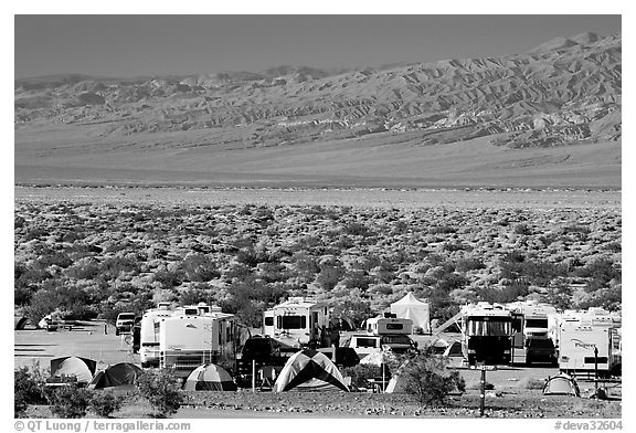 Campground and RVs at Furnace creek. Death Valley National Park (black and white)