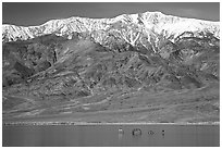 Telescope Peak, rare Manly Lake with dragon. Death Valley National Park ( black and white)