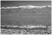 Panamint Range, salt formations, and Manly Lake with Loch Ness Monster. Death Valley National Park, California, USA. (black and white)