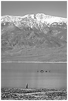 Tourist, ephemeral Loch Ness Monster in Manly Lake, and Telescope Peak. Death Valley National Park ( black and white)