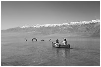 Canoe near the dragon in Manly Lake, below the Panamint Range. Death Valley National Park ( black and white)