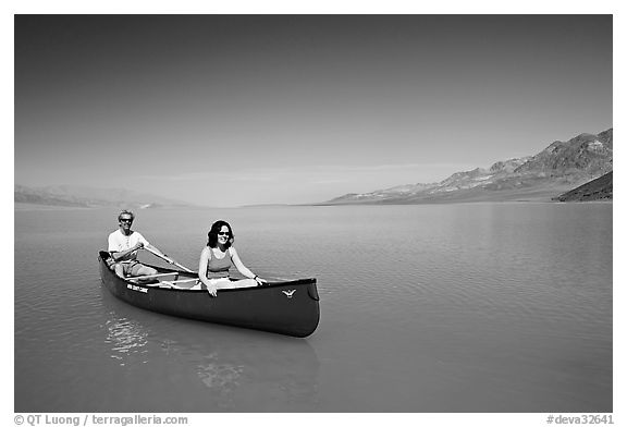 Canoeing in Death Valley after the exceptional winter 2005 rains. Death Valley National Park (black and white)