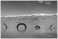 Dragon art installation in Manly Lake and Panamint range. Death Valley National Park ( black and white)