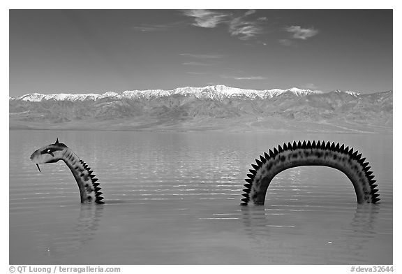 Loch Ness Monster art installation in Manly Lake and Panamint range. Death Valley National Park (black and white)