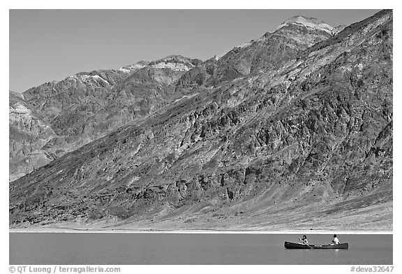 Canoe and Black Mountains. Death Valley National Park (black and white)