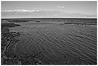 Flooded Badwater basin, early morning. Death Valley National Park ( black and white)