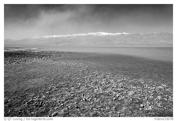 Salt formations on the shore of Manly Lake, morning. Death Valley National Park (black and white)