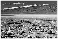 Rock field, salt flats, and Panamint Range, morning. Death Valley National Park, California, USA. (black and white)